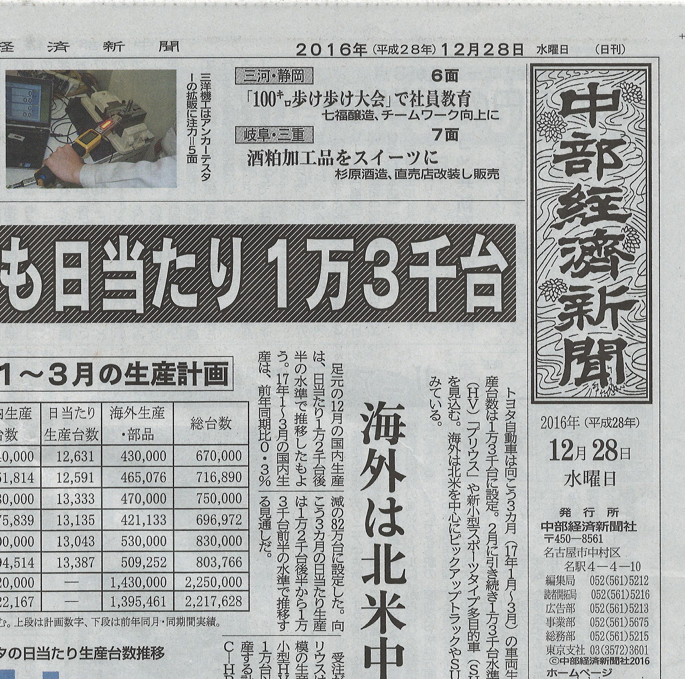 代表理事・瀬川 中部経済新聞にて「つりチケ」を語る