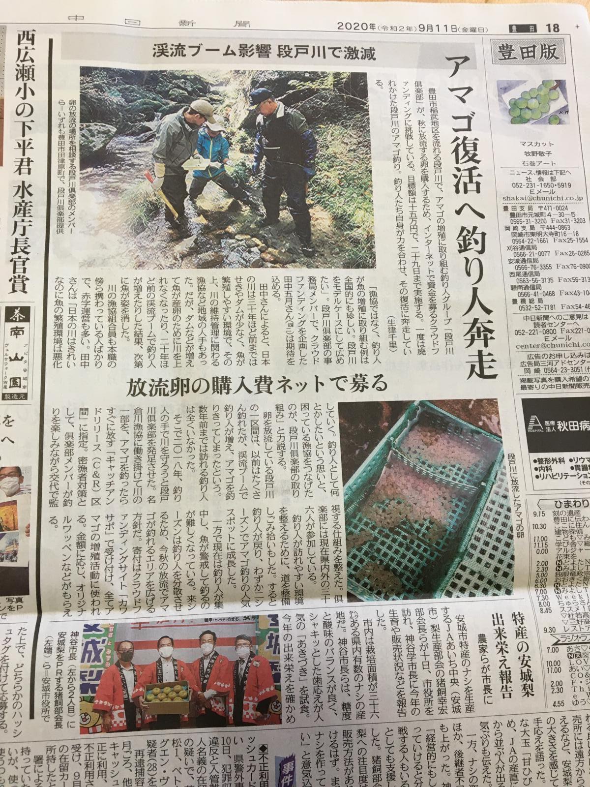 カワサポ プロジェクトが中日新聞に紹介されました