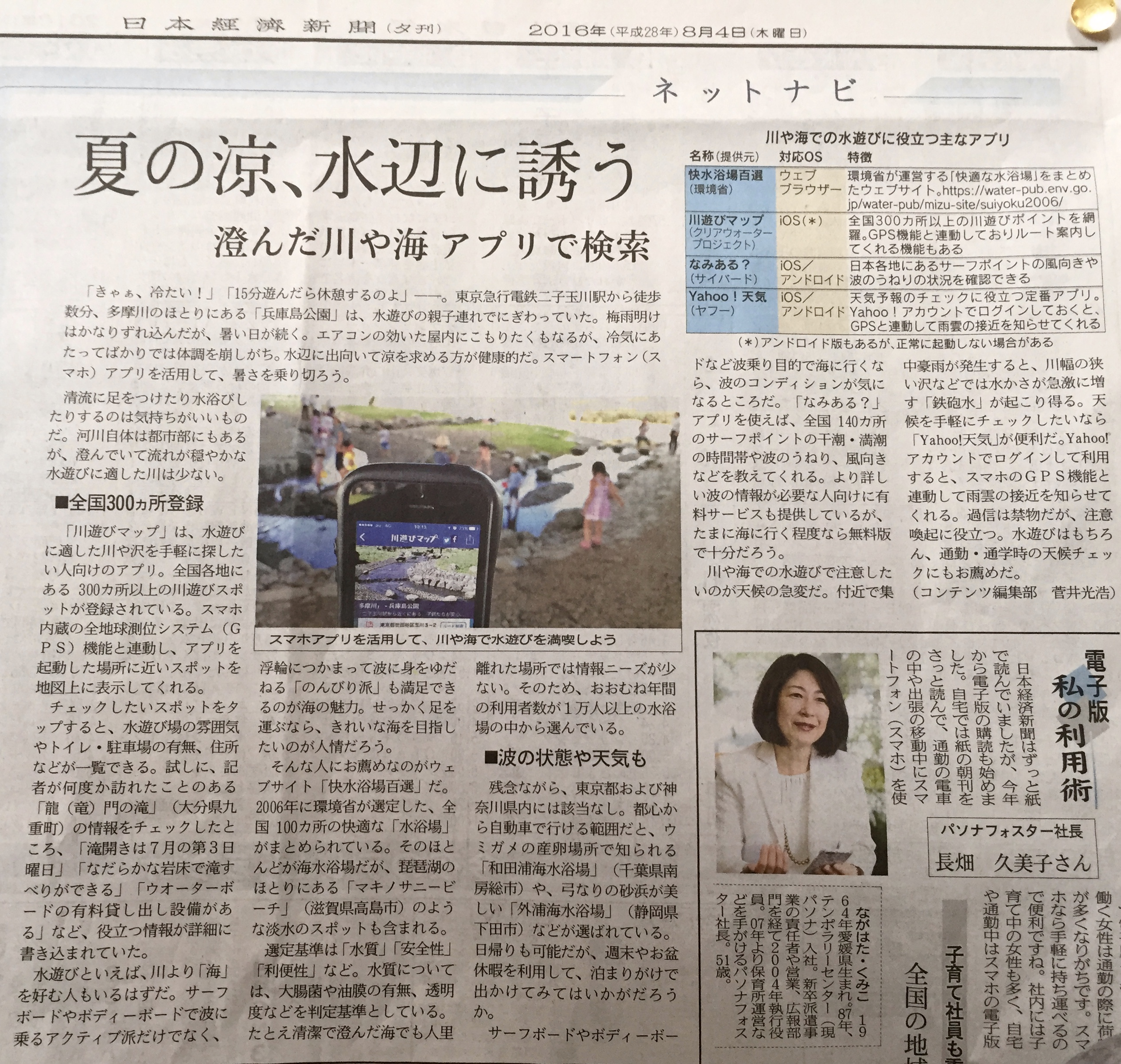 川遊びマップアプリ 日経夕刊に!